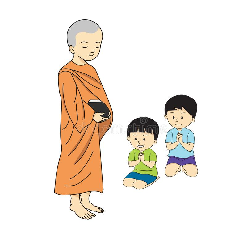 Het trekken van Boeddhistisch monniksbeeldverhaal stock illustratie