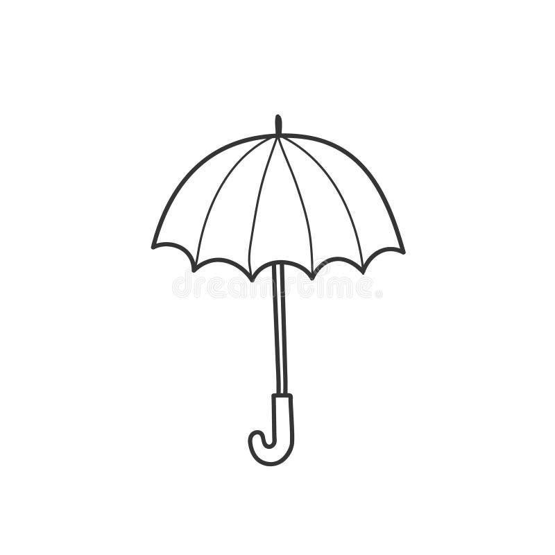 Het trekken van een paraplu in de stijl van een krabbel Een eenvoudige vectorillustratie met de hand vector illustratie