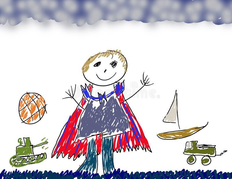 Het trekken van jongens royalty-vrije illustratie