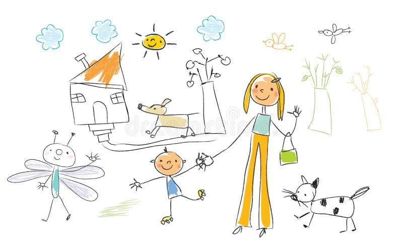 Het trekken van kinderen royalty-vrije illustratie