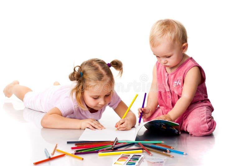 Het trekken van kinderen stock afbeeldingen