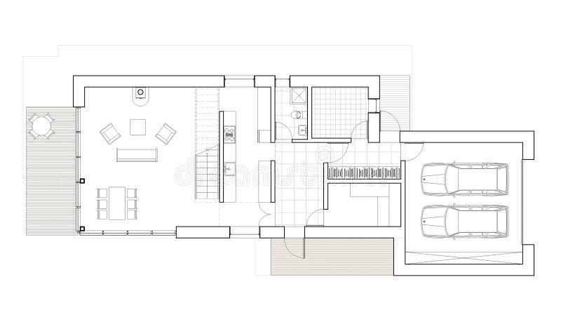 Het trekken - vloerplan van het enige familiehuis met garage royalty-vrije illustratie