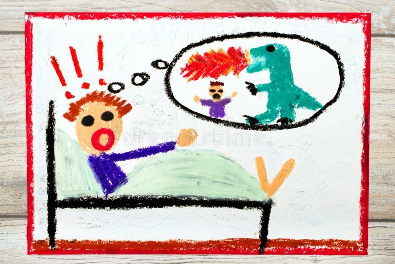Het trekken: weinig jongen heeft nachtmerries Eng nachtmerrieschepsel vector illustratie