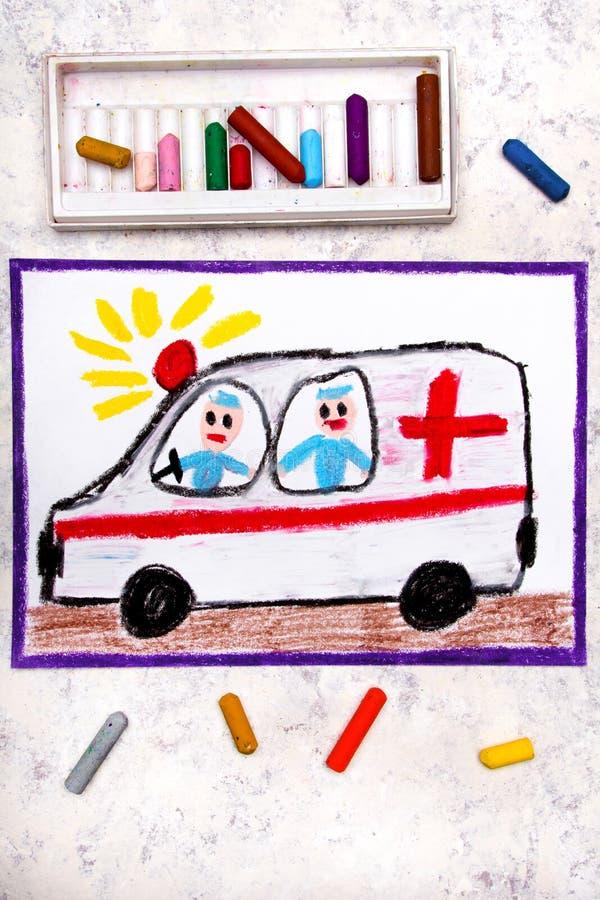 het trekken: ziekenwagen en paramedici stock foto