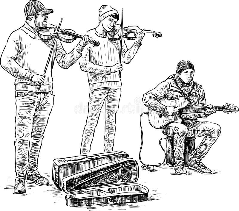 het trio van buskers stock illustratie