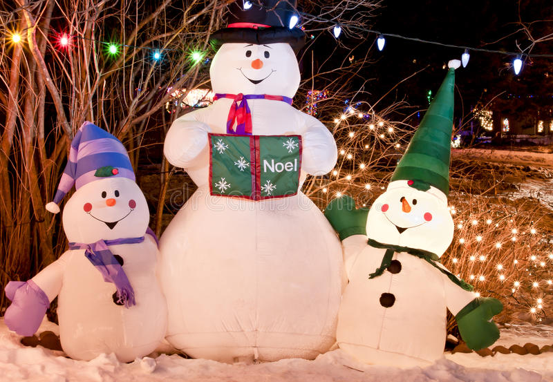 Het Trio Van De Sneeuwman Stock Afbeelding