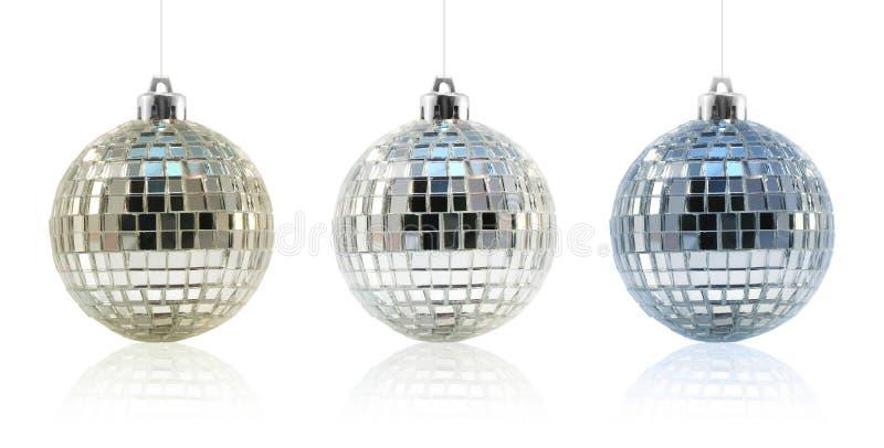 Het Trio van het Ornament van de Bal van de disco stock foto's