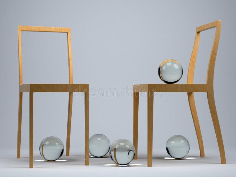 Het triplexstoelen van het ontwerp vector illustratie