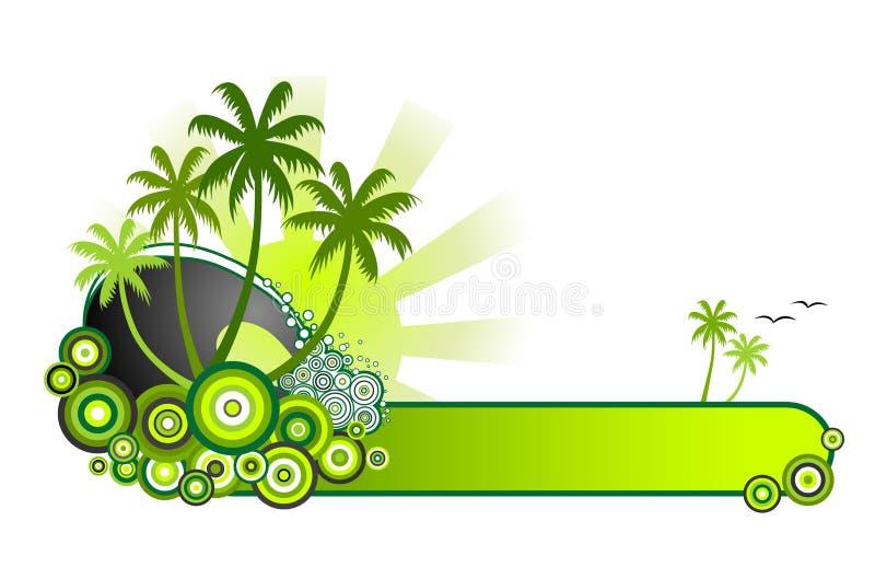 Het tropische banner-Green van het Strand royalty-vrije illustratie