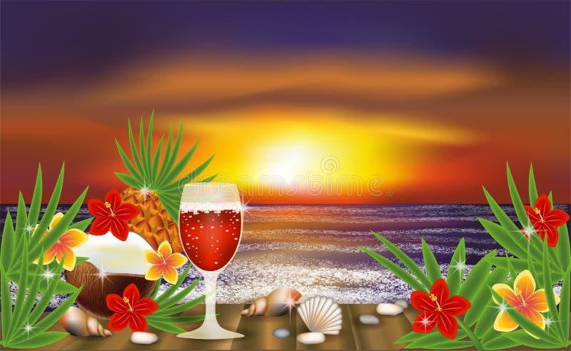 Het tropische behang van de de zomernacht met cocktail, vector royalty-vrije illustratie