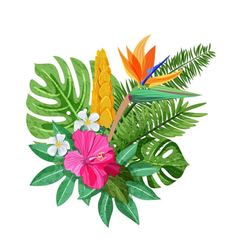 Het tropische boeket met bloemenhibiscus, plumeria, strelitzia en palm, monstera gaat weg Vector geïsoleerde illustratie stock illustratie