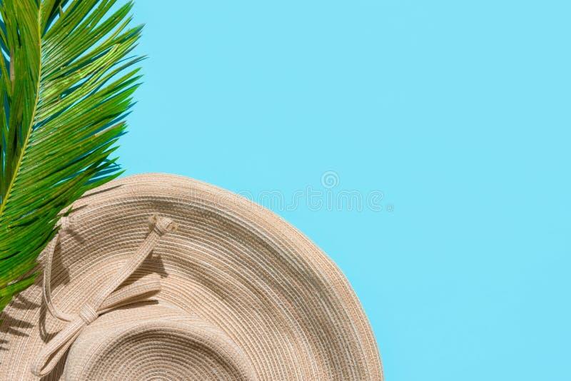 Het tropische concept van de de zomermanier Van het de strandkledingstro van vrouwen vrouwelijk de hoeden groen palmblad op munt  royalty-vrije stock fotografie