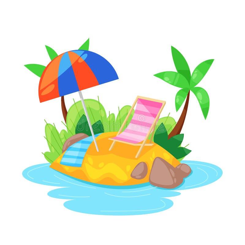 Het tropische eiland in oceaan met palm, strand onder paraplu, sunbed vector illustratie