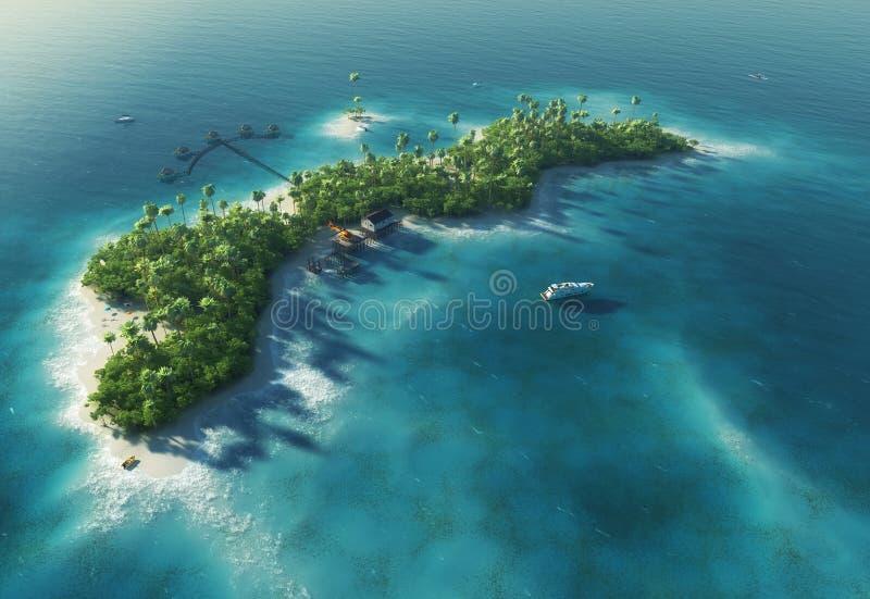 Het tropische eiland van het paradijs in de vorm van golf stock illustratie