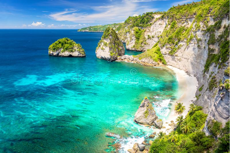 Het tropische eiland van Paradise met zandig strand, palmenbomen, ertsader en rotsen stock afbeeldingen