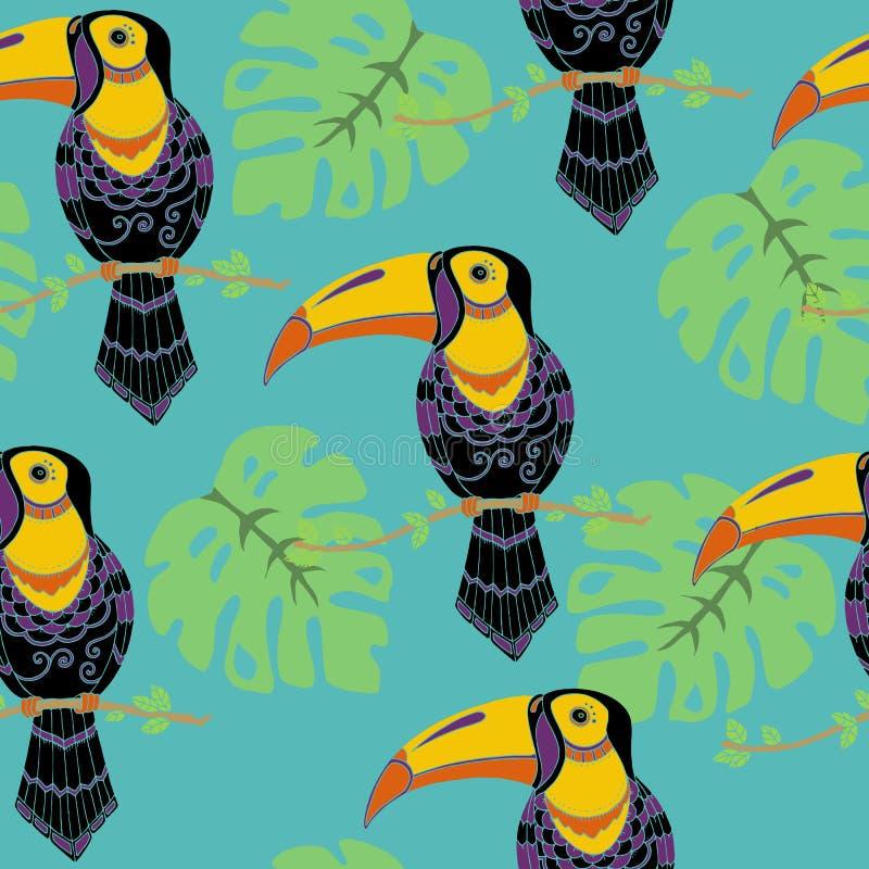 Het tropische Naadloze Patroon van Vogelstoekannen, Regenwoud Tropisch Bladeren Herhaald Patroon Backround stock illustratie
