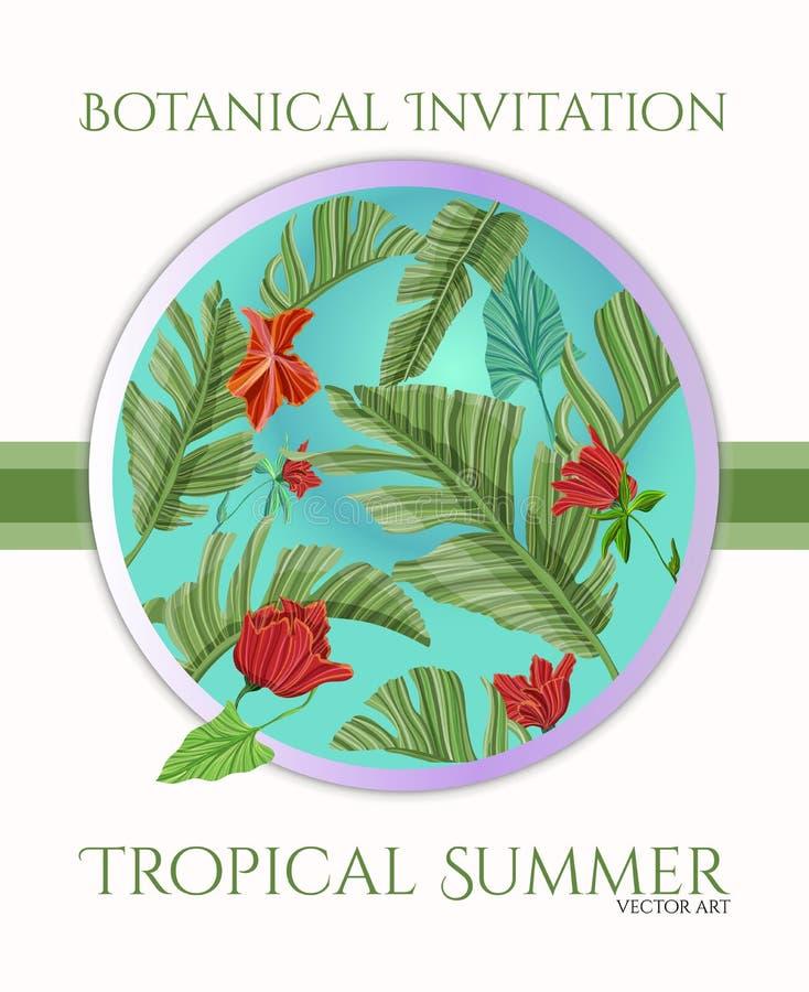 Het tropische ontwerp van het kaartmalplaatje met palm en bloemen voor groet, uitnodiging royalty-vrije illustratie