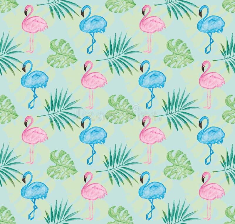 Het tropische patroon met blauwe achtergrond en waterverf schilderde roze flamingo en bladeren stock illustratie
