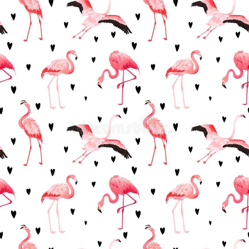 Het tropische patroon van de Flamingo naadloze vectorzomer met harten Exotische Roze Vogelachtergrond voor behang, webpagina stock illustratie