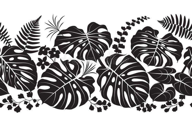 Het tropische Patroon van het Installatiessilhouet royalty-vrije illustratie