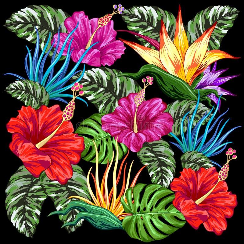 Het tropische Textielontwerp van Flora Summer Mood Pattern Vector stock illustratie