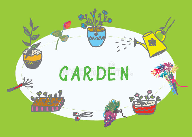 Het tuinieren banner met bloemen royalty-vrije illustratie