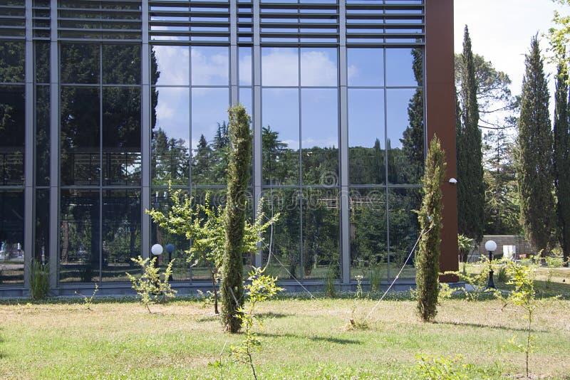 Het tuinieren dichtbij de moderne bouw royalty-vrije stock foto's