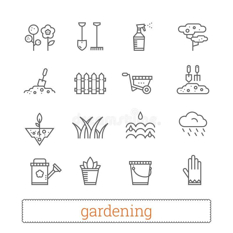 Het tuinieren dunne lijnpictogrammen Vectorreeks van installatie het groeien, tuinbouwtekens Moderne lineaire ontwerpelementen stock illustratie
