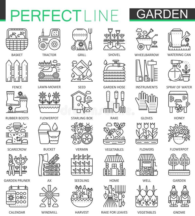 Het tuinieren en bloem de symbolen van het overzichtsconcept De perfecte dunne pictogrammen van de lijnslag Moderne lineaire gepl stock illustratie