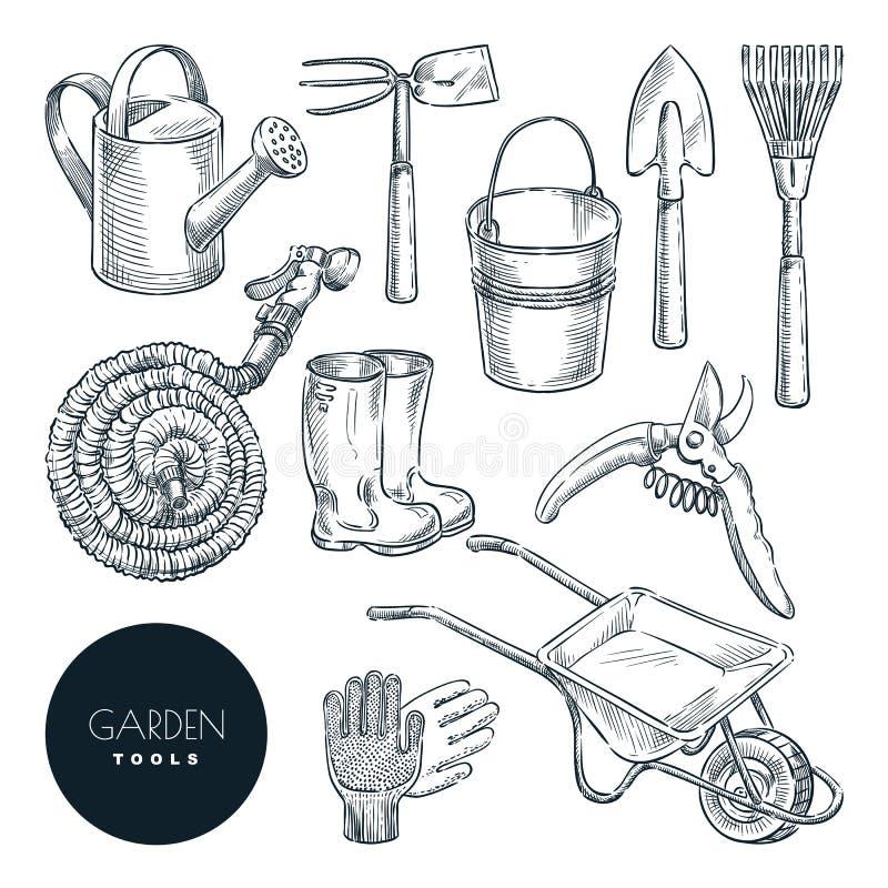 Het tuinieren en de landbouwhulpmiddelenreeks Landbouwmateriaal, vectorschetsillustratie Tuinpictogrammen en ontwerpelementen royalty-vrije illustratie