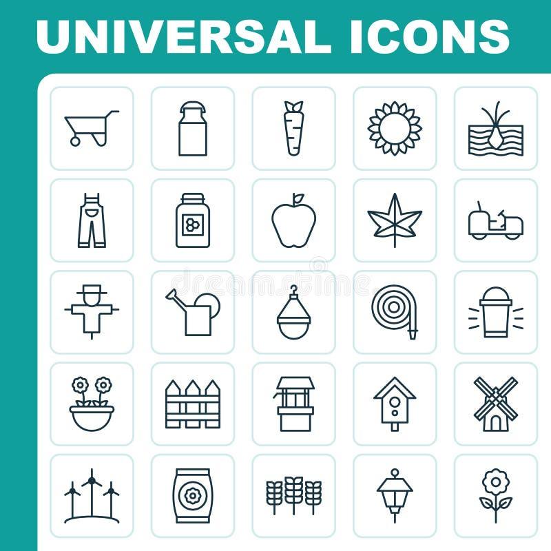 Het tuinieren geplaatste pictogrammen Inzameling van Bloei, Hang Lamp, Spookbeeld en Andere Elementen Omvat ook Symbolen zoals Bl vector illustratie