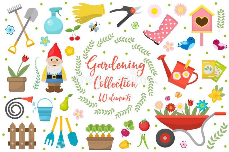Het tuinieren geplaatste pictogrammen, ontwerpelementen Van het tuinhulpmiddelen en decor inzameling, op een witte achtergrond wo royalty-vrije illustratie