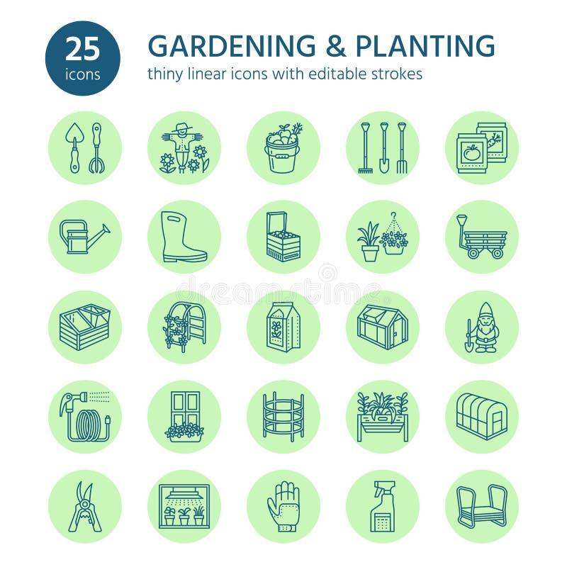 Het tuinieren, het planten en tuinbouwlijnpictogrammen Tuinmateriaal, organische zaden, meststof, serre, pruners royalty-vrije illustratie