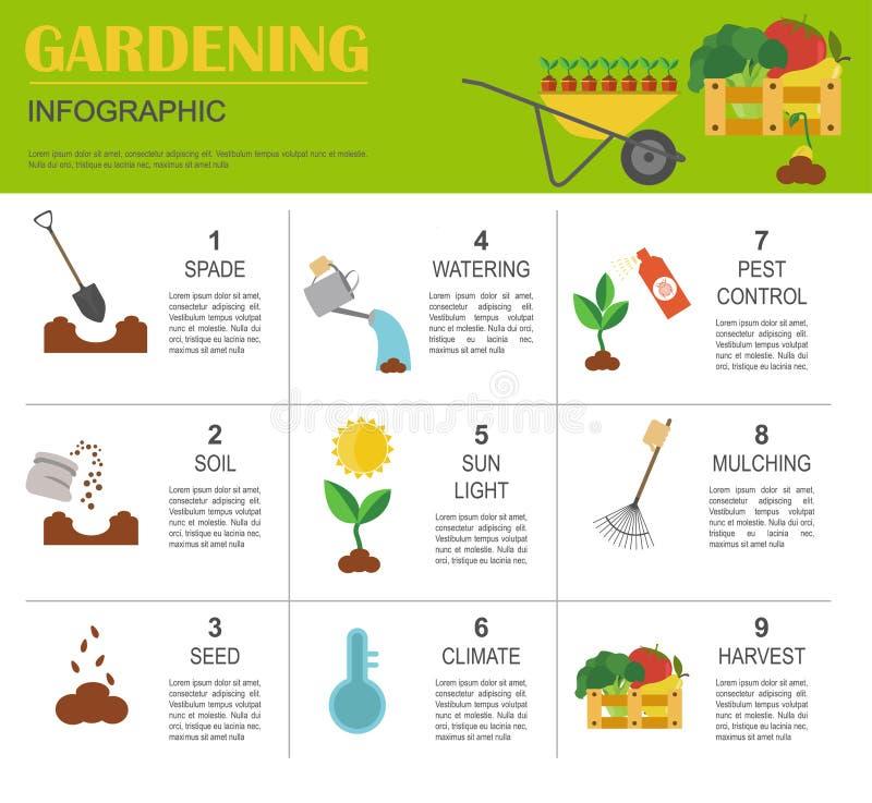 Het tuinieren het werk, infographic de landbouw Grafisch malplaatje Vlakke styl royalty-vrije illustratie