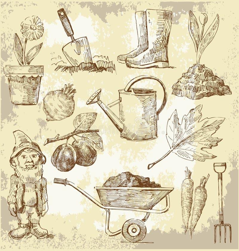 Het tuinieren hulpmiddelen royalty-vrije illustratie