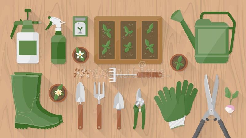 Het tuinieren Hulpmiddelen en Apparatuur vector illustratie