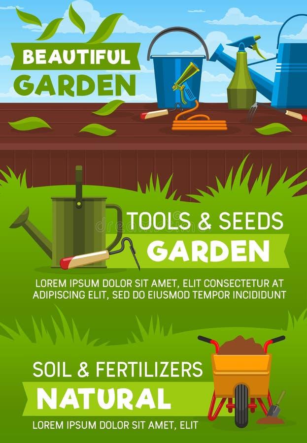 Het tuinieren hulpmiddelen op gazon groen gras stock illustratie