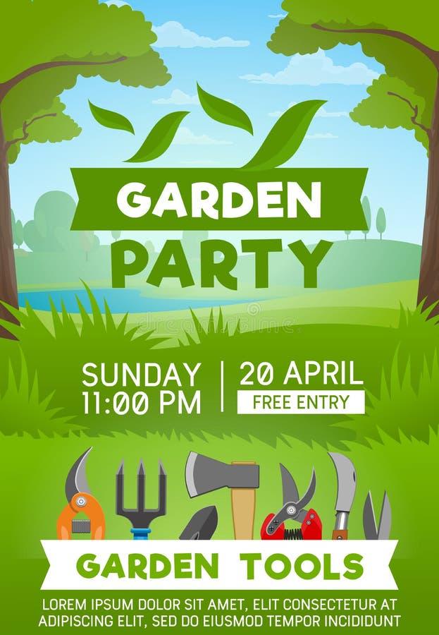 Het tuinieren hulpmiddelen op groen gras royalty-vrije illustratie