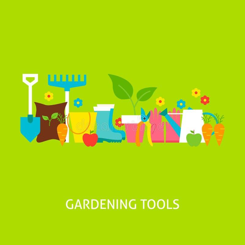 Het tuinieren Hulpmiddelen Vector Vlak Concept vector illustratie