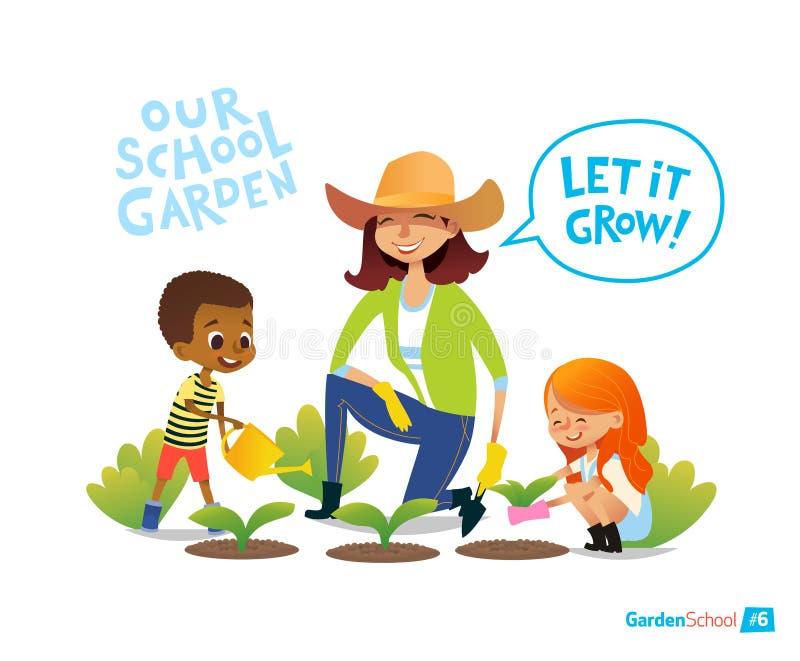 Het tuinieren met jonge geitjes Het concept van Eco Het in dienst nemen in Montessori-onderwijsactiviteiten organisch Veganisttui stock illustratie