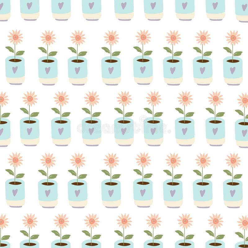 Het tuinieren naar huis plant in ceramische potten stock illustratie