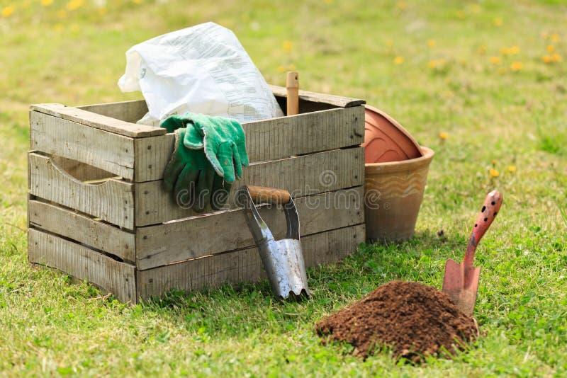Het tuinieren nieuwe hulpmiddelen, rietdienblad stock fotografie