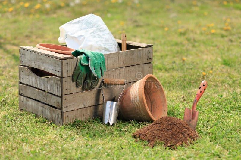 Het tuinieren nieuwe hulpmiddelen, rietdienblad stock afbeelding