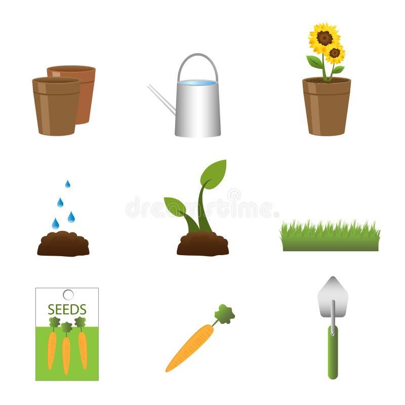 Het tuinieren pictogrammen royalty-vrije illustratie