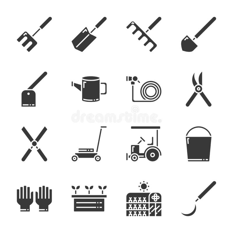 Het tuinieren pictogramreeks Vector illustratie stock illustratie
