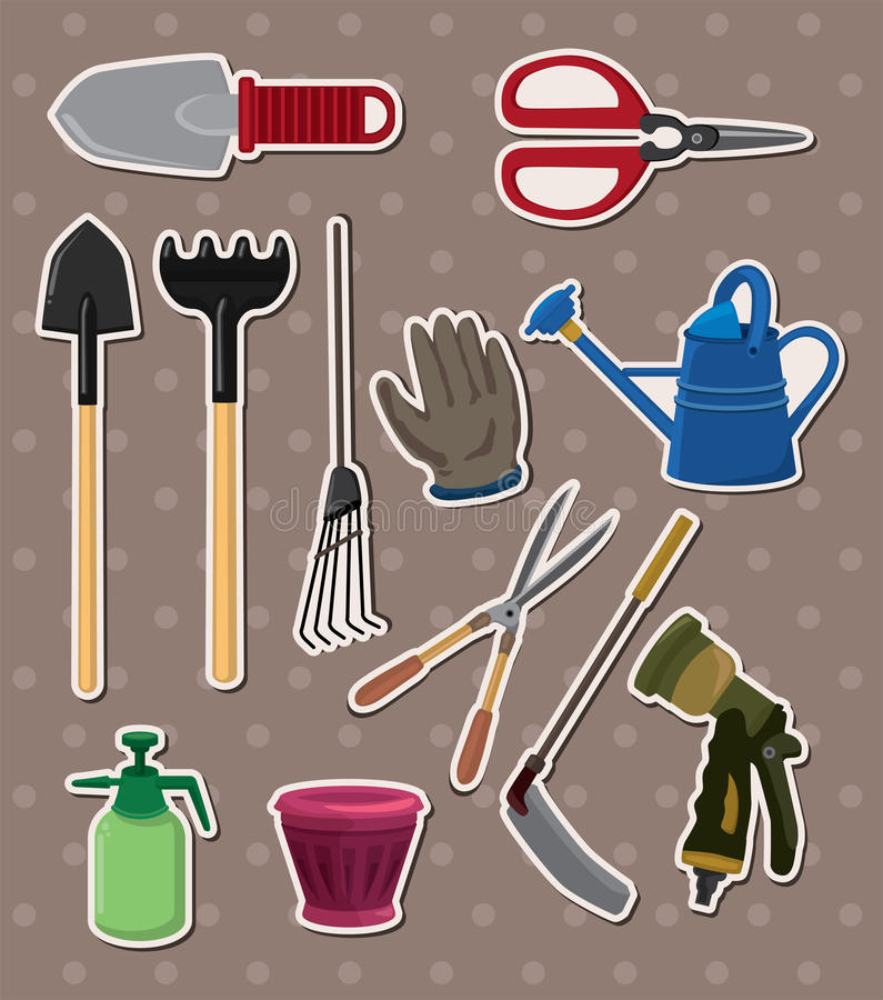 Het tuinieren stickers stock illustratie