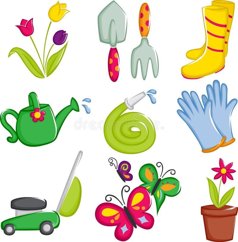 Het tuinieren van de lente pictogrammen royalty-vrije illustratie