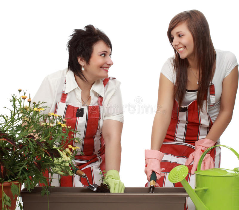 Het tuinieren van de moeder en van de dochter royalty-vrije stock foto