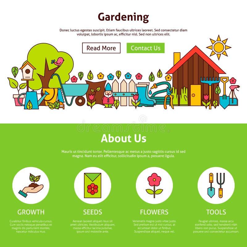Het tuinieren Vlak het Ontwerpmalplaatje van het Overzichtsweb stock illustratie