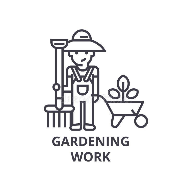 Het tuinieren het werk, het pictogram van de tuinmanlijn, overzichtsteken, lineair symbool, vector, vlakke illustratie vector illustratie